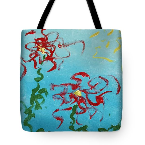 Tote Bag featuring the painting Crimson And Clover 2 by Lola Connelly