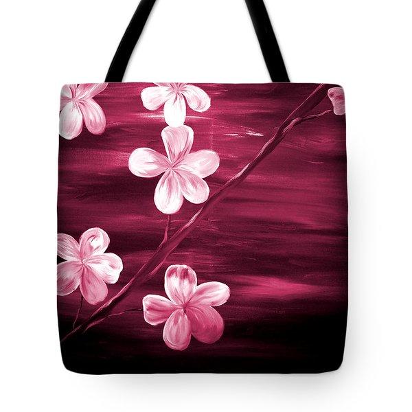Crimson Cherry Blossom Tote Bag by Mark Moore