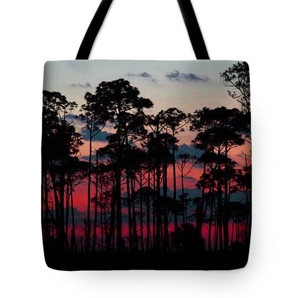 Crimson In The Pines Tote Bag