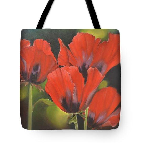 Crimson Petals Tote Bag