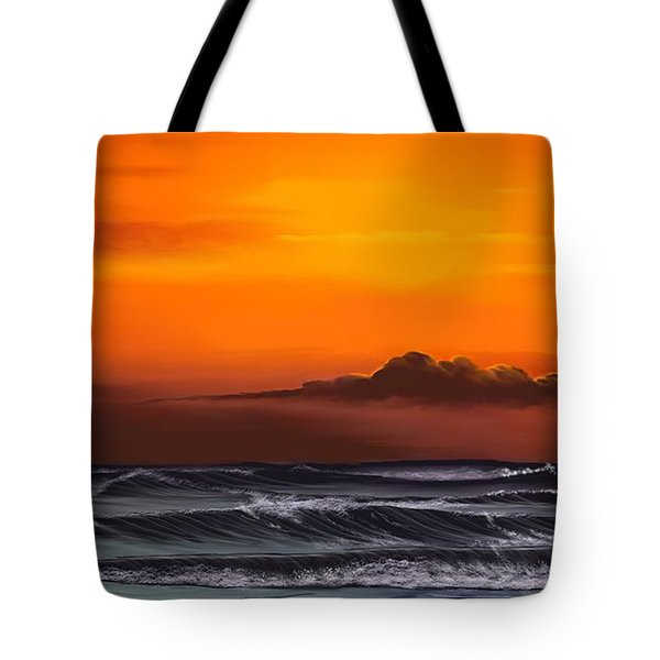Tote Bag featuring the drawing Crimson Sunset by Anthony Fishburne