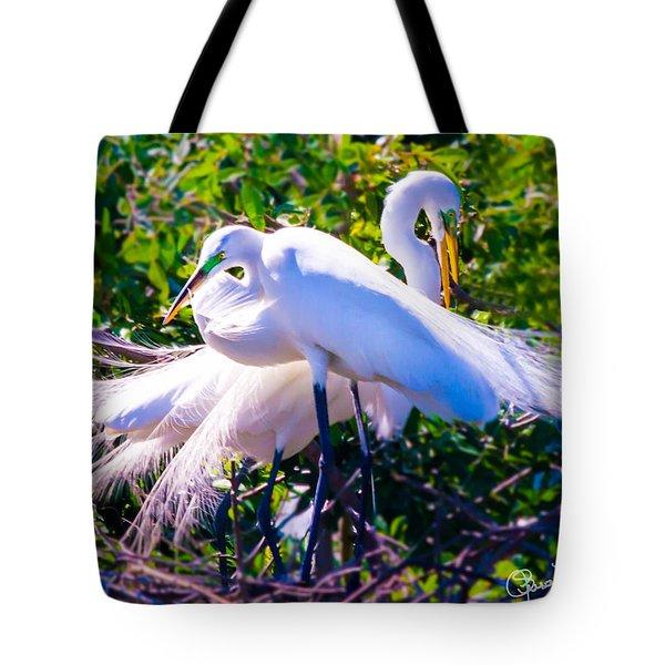 Criss-cross Egrets Tote Bag