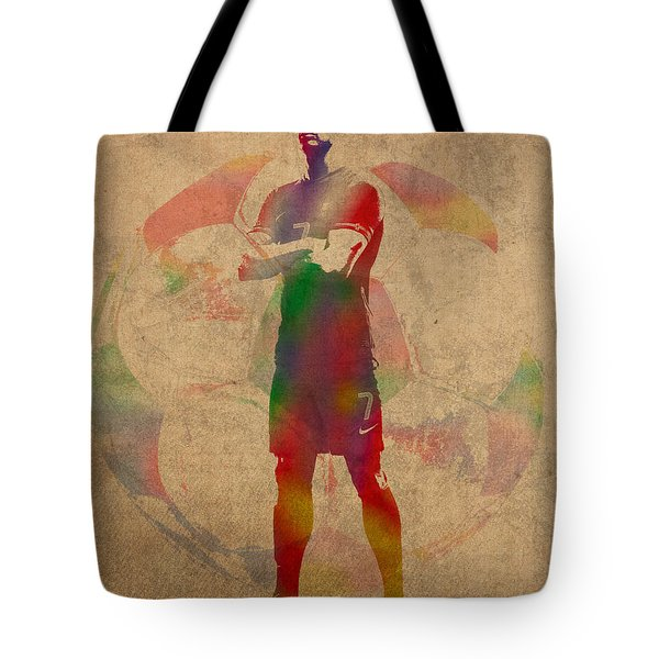 Cristiano Ronaldo Soccer Football Player Portugal Real Madrid Watercolor Painting On Worn Canvas Tote Bag by Design Turnpike