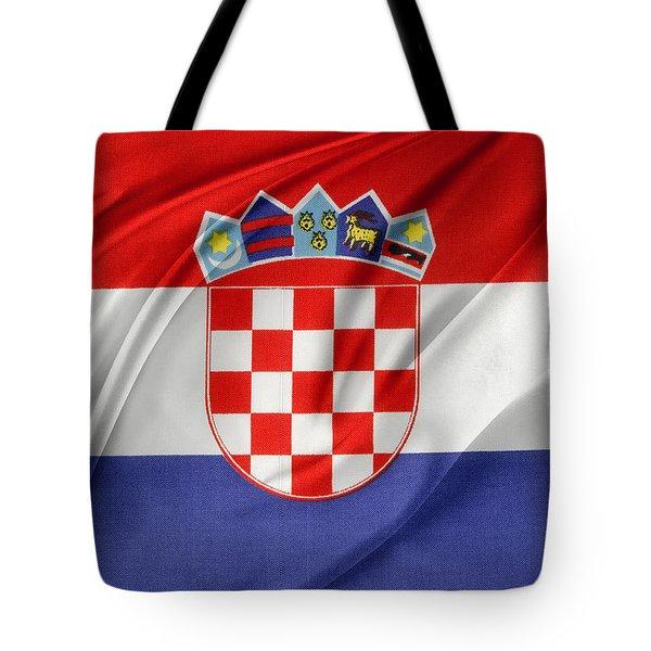 Croatian Flag Tote Bag by Les Cunliffe