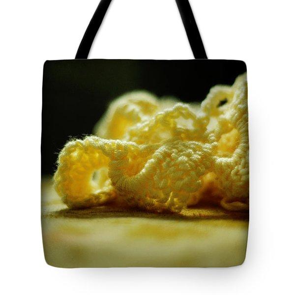 Crocheted Sunshine Tote Bag by Rebecca Sherman