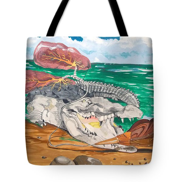 Tote Bag featuring the painting Crocodile Emphysema by Lazaro Hurtado