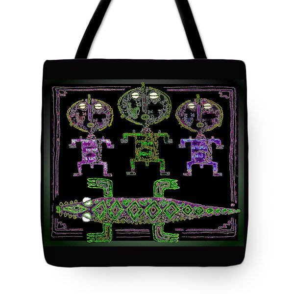 Tote Bag featuring the drawing Crocodile  Worshippers by Hartmut Jager