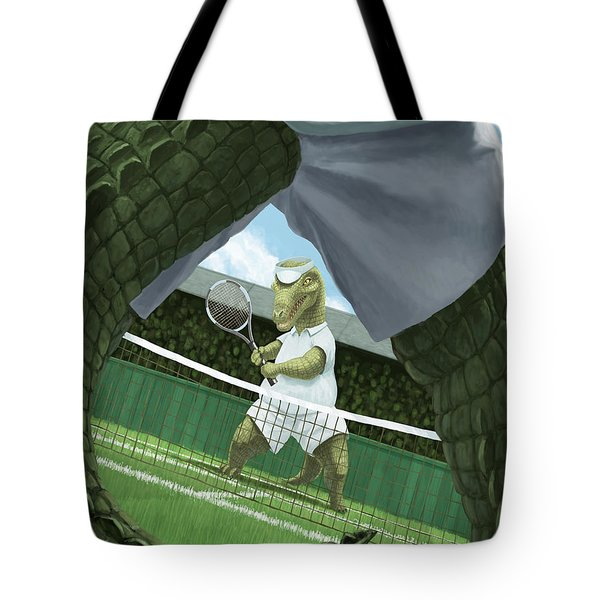 Crocodiles Playing Tennis At Wimbledon  Tote Bag