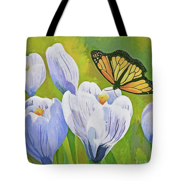Crocus And Monarch Butterfly Tote Bag