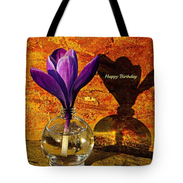 Crocus Floral Birthday Card Tote Bag