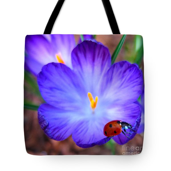 Crocus Flower With Ladybug Tote Bag by Debra Thompson