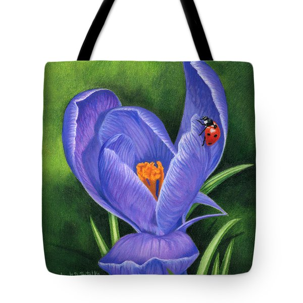 Crocus And Ladybug Tote Bag