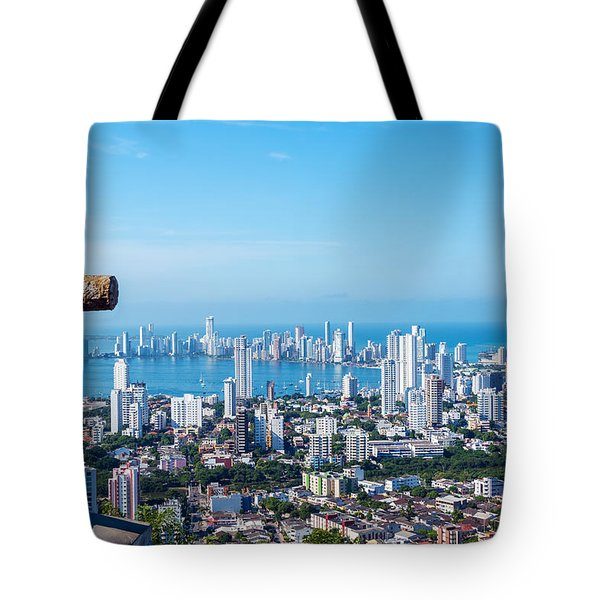 Cross And Modern City Tote Bag