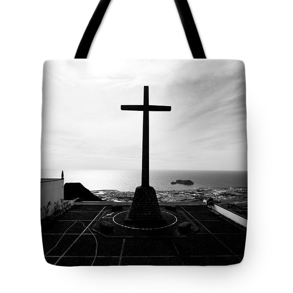 Cross Atop Old Chapel In Village  Tote Bag