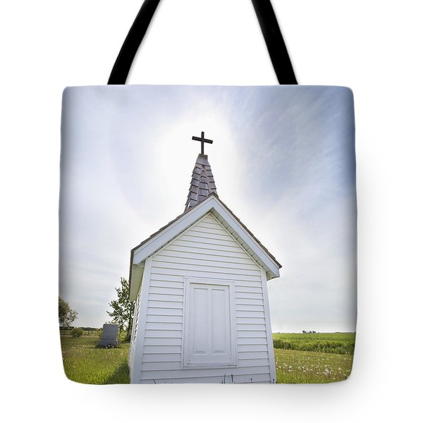 Cross On Crypt With Sun Halo Near Tote Bag by Susan Dykstra