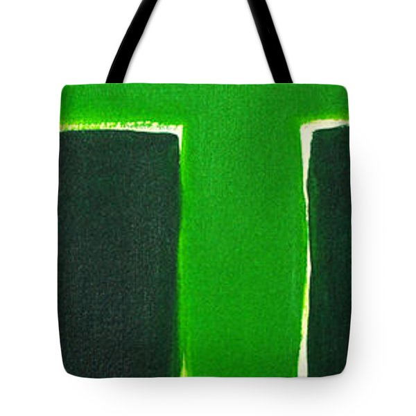 Green Cross On Hill Tote Bag