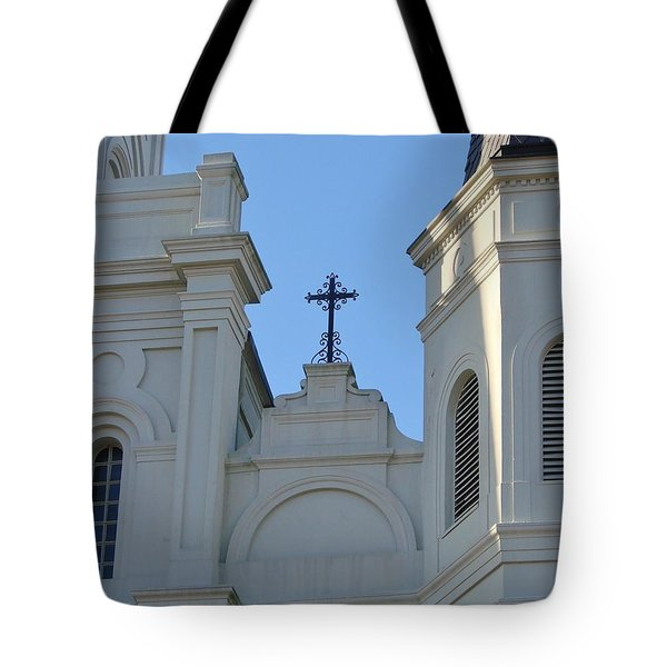 Cross On The Cathedral Tote Bag by Margaret Bobb
