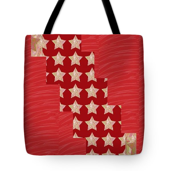 Cross Through Sparkle Stars On Red Silken Base Tote Bag