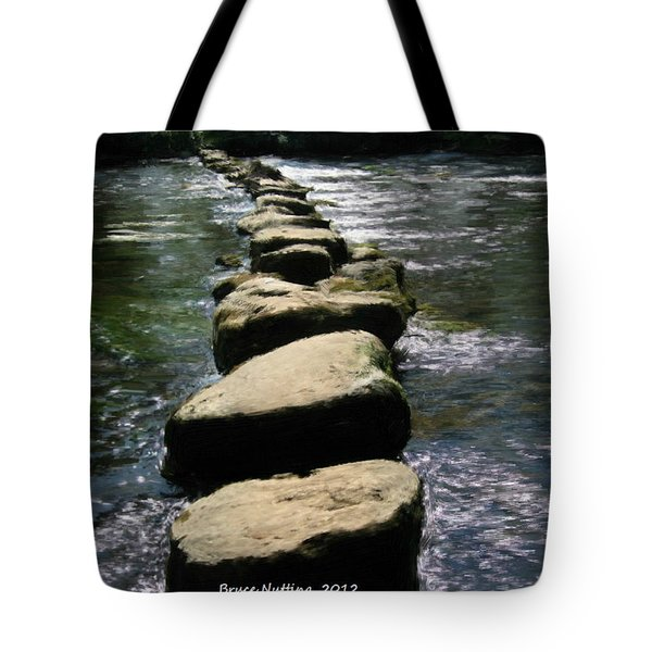 Tote Bag featuring the painting Crossing The Creek by Bruce Nutting