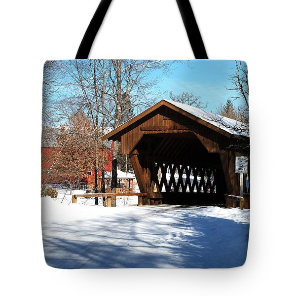 Crossing The Pine River Via A Covered Bridge Tote Bag by Janice Adomeit