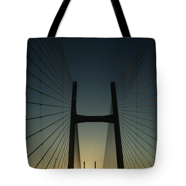 Tote Bag featuring the photograph Crossing The Severn Bridge At Sunset - Cardiff - Wales by Vicki Spindler