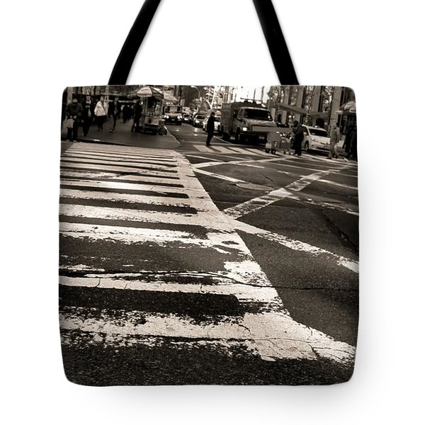 Crosswalk In New York City Tote Bag by Dan Sproul