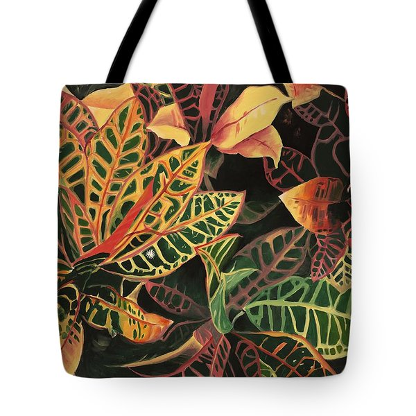 Croton Leaves Tote Bag by Judy Swerlick