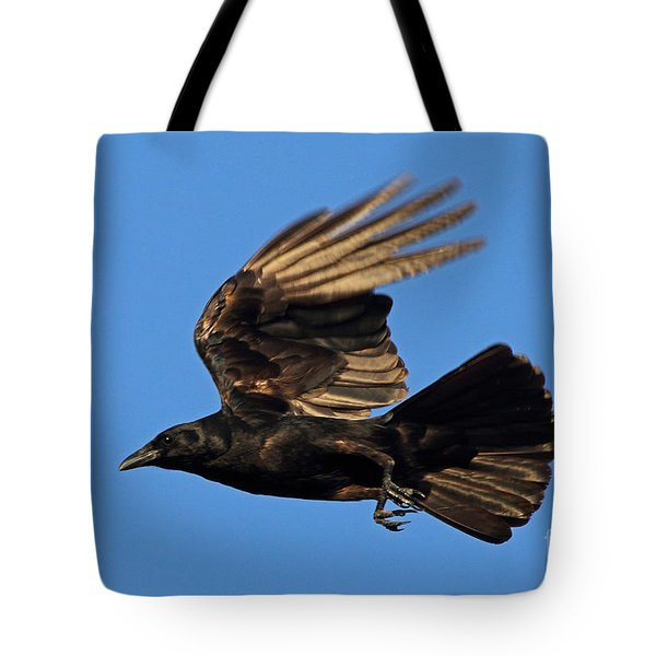 Tote Bag featuring the photograph Crow In Flight by Meg Rousher