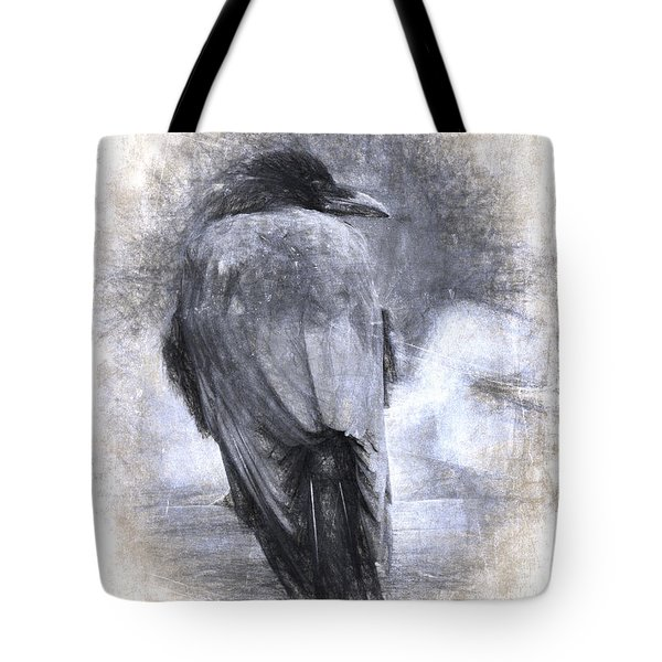 Crow Sketch Painterly Effect Tote Bag