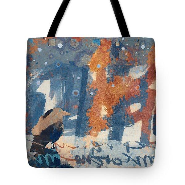 Crow Snow Tote Bag by Carol Leigh