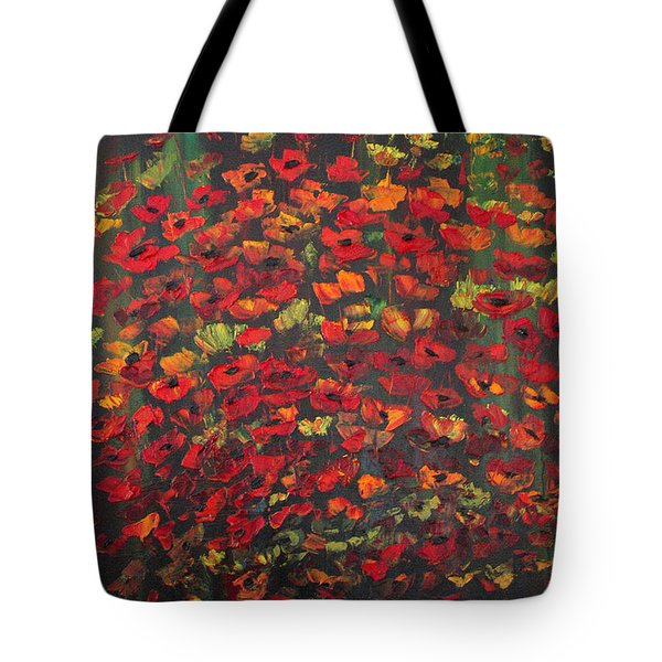 Tote Bag featuring the painting Crowd Of Poppies by Dorothy Maier