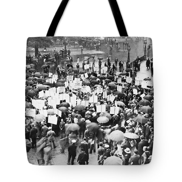 Crowd Protests Bank Failure Tote Bag