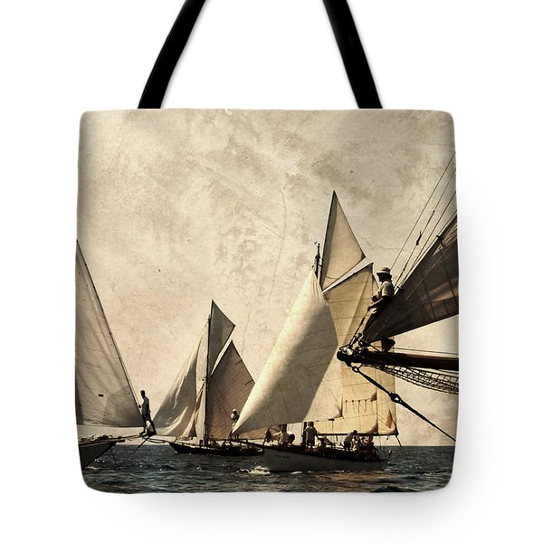 A Vintage Processed Image Of A Sail Race In Port Mahon Menorca - Crowded Sea Tote Bag