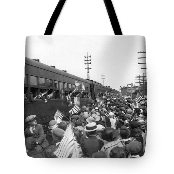 Crowds Cheer Ny Train Service Tote Bag