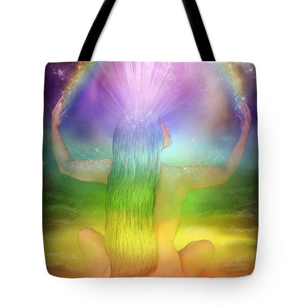 Crown Chakra Goddess Tote Bag by Carol Cavalaris