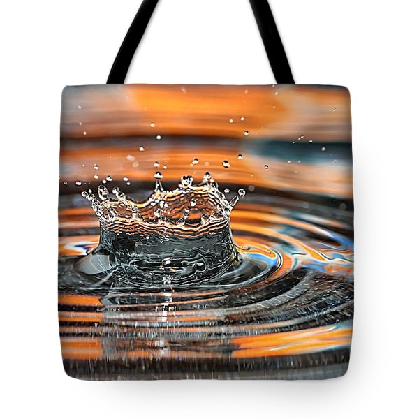 Crown Shaped Water Drop Macro Tote Bag by Teresa Zieba