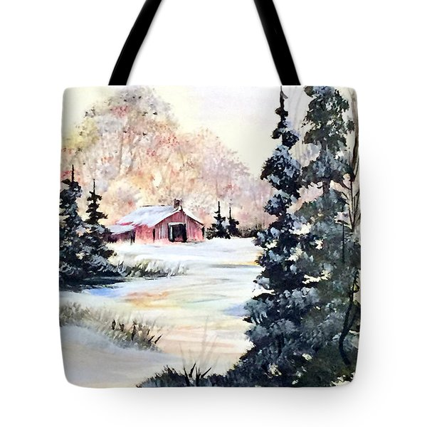 Crows Behind The Barn Tote Bag by Dorothy Maier