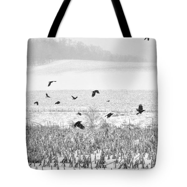 Crows In Cornfield Winter Tote Bag by Dan Friend