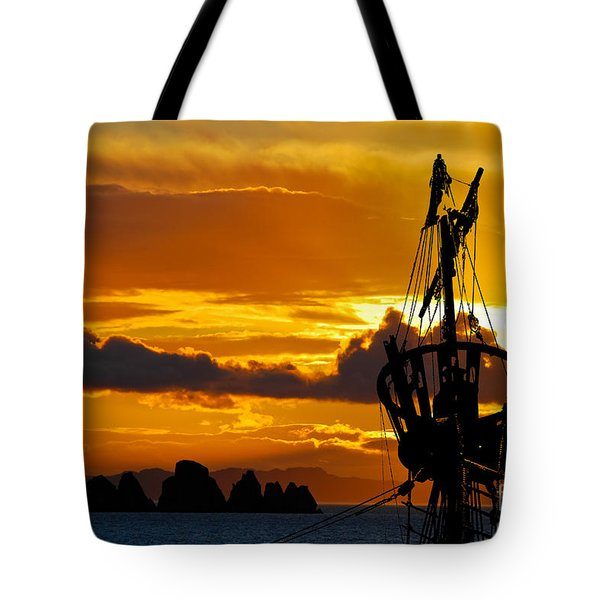 Crows Nest Silhouette On Newfoundland Coast Tote Bag