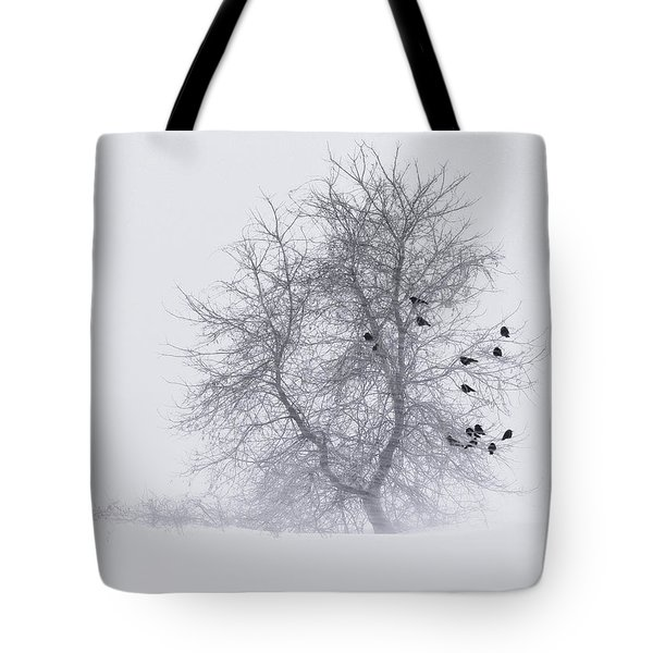 Crows On Tree In Winter Snow Storm Tote Bag