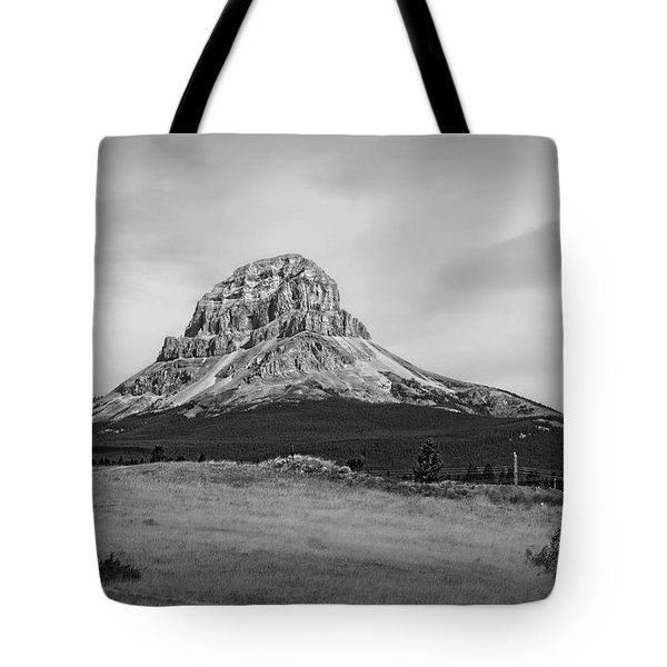 Crowsnest Mountain Black And White Tote Bag