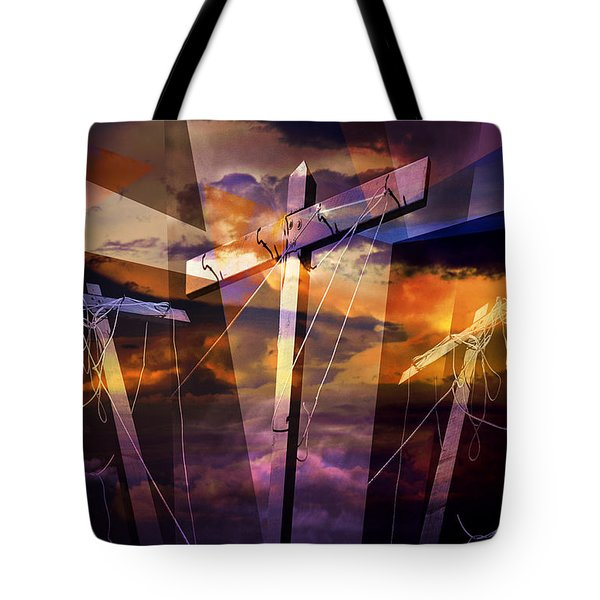 Crucifixion Crosses Composition From Clotheslines Tote Bag by Randall Nyhof