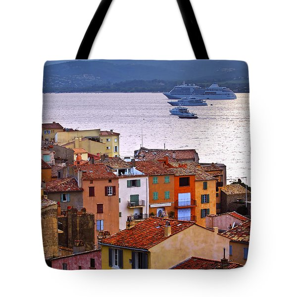 Cruise Ships At St.tropez Tote Bag by Elena Elisseeva