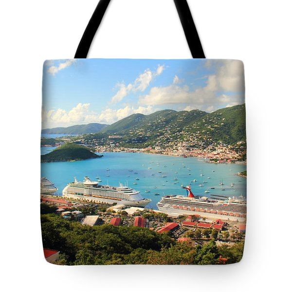 Cruise Ships In St. Thomas Usvi Tote Bag by Roupen  Baker