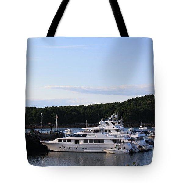 Cruiseships At Bar Harbor Tote Bag by Dora Sofia Caputo Photographic Art and Design