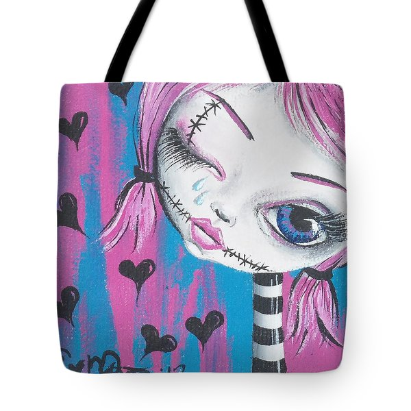 Crying Zombie Tote Bag by Oddball Art Co by Lizzy Love