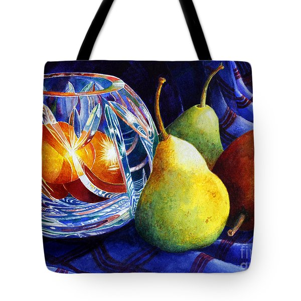 Crystal And Pears Tote Bag by Roger Rockefeller