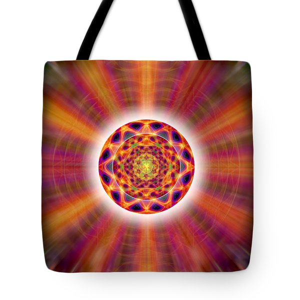 Tote Bag featuring the drawing Crystal Ball Of Light by Derek Gedney