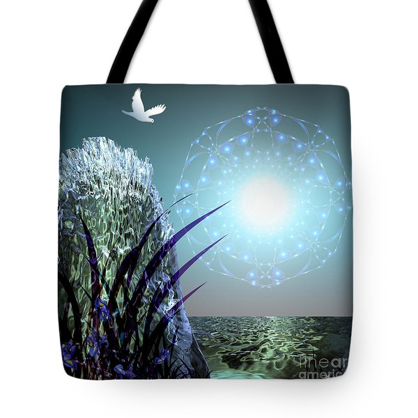 Tote Bag featuring the digital art Crystal Breathing Rock by Rosa Cobos