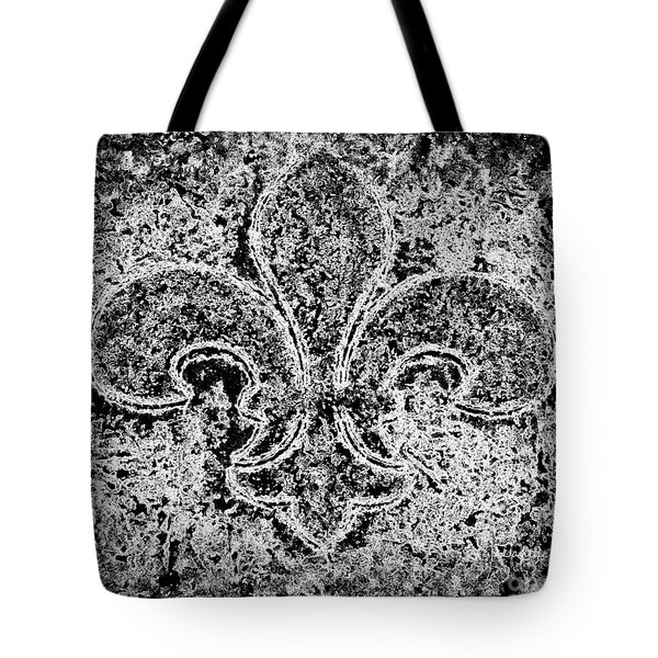 Crystal Ice Fleur De Lis On Black Tote Bag by Janine Riley